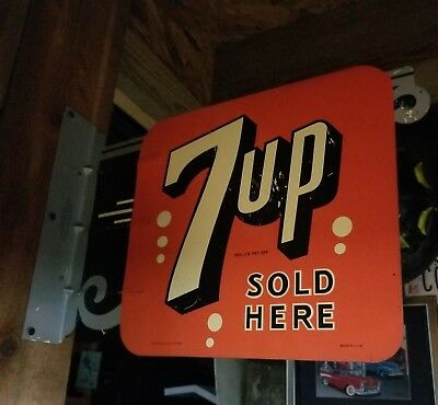 VINTAGE 7 Up flange sign 1 of  925 made by Stout Sign Co St. Louis Mo USA