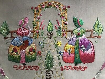 Stunning Vintage Hand Embroidered Table Mat/runner ~ Crinoline Ladies/gardens