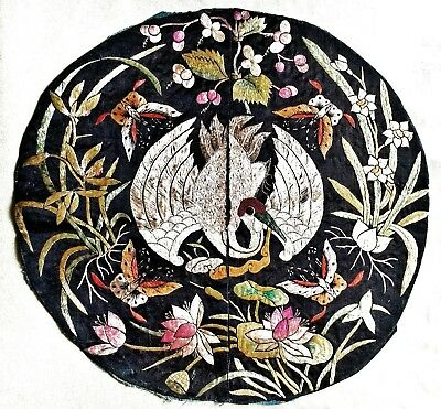 Chinese embroidered Crane roundel from a wedding robe Qing Dynasty Exceptional