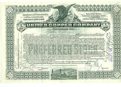 Rare UNITED COPPER COMPANY Butte Montana Mining Stock Signed Heinze Copper King