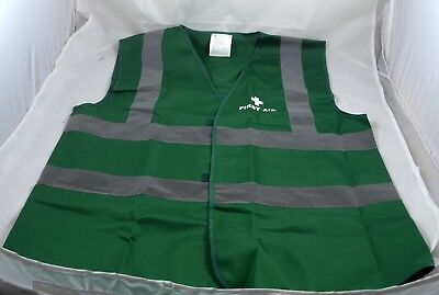 Green first aid vest medium with hi vis reflective strip press fastenings