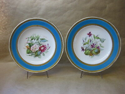 Pair of Antique Minton Cabinet Plates ~ Hand Painted Flowers ~ Turquoise / Gilt