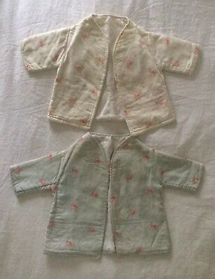 Pretty Pair Of Antique French Faded Floral Fabric Baby Jackets/Coat