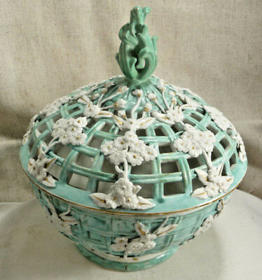 Antique Majolica Turquoise White Pierced Design Floral Covered Dish Porcelain