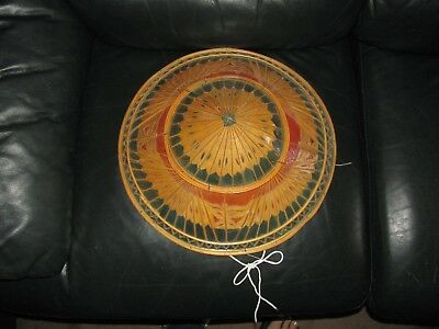 "Vintage Chinese Conical Coolie Hat 16"" Diameter Wonderful Condition Must See"