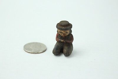 Vintage Tiny Cast Iron Hand Painted Sitting Boy/Girl w Hat Figurine