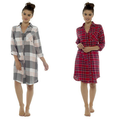 Ladies 100% Brushed Cotton Traditional Style Checked Nightshirt  Red or Pink