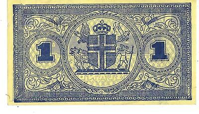1945 - Iceland - One Krona - VF -  Paper Note -  ( #22-F )         (#12)