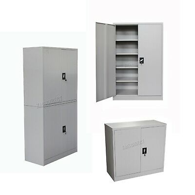 FoxHunter Filing Cabinet Steel Office Storage Lockable Cupboard Metal Grey Keys
