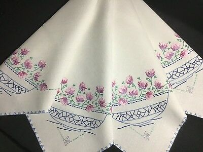 Beautiful Vintage Linen Hand Embroidered Tablecloth ~ Clover