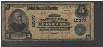 1902 Plain Back $5 The FIRST National Bank  of Fayette Alabama Charter 10377