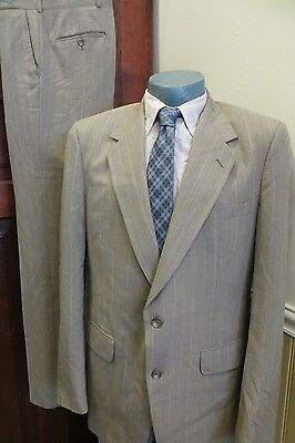 Vintage Halston USA Made Mens 42 Brown Pinstripe Wool Two Button Suit