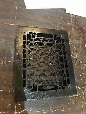 D 29 antique cast-iron heating grate with frame no fins 7.75 X9 5/8