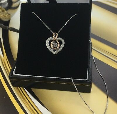 Vintage 10k Gold and Sterling Silver and Diamond Heart Necklace Pendant 16""