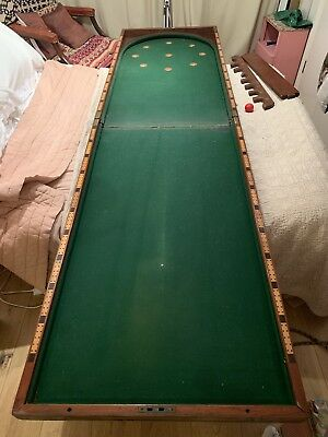 Vintage Bagatelle Folding Table Top Game. Victorian Antique Mahogany Wooden Case