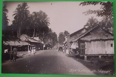 RP Postcard c.1925 VIEW OF COUNTRY SIDE SINGAPORE MALAYA