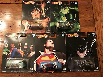 2018 Hot Wheels Pop Culture DC Alex Ross Series Set of 5 Cars Superman Batman ++