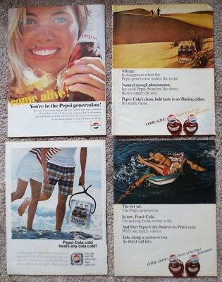 Seven Vintage 1950's and 1960's Pepsi Cola Large Print Ads