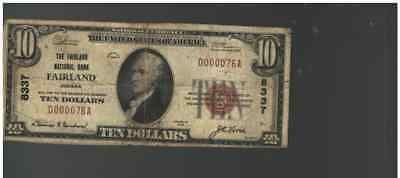 $10 1929 FAIRLAND Indiana  National Currency Bank Note Bill Ch. #8337