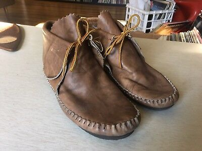 Beautiful Vintage Taos Mocassins Booties Shoes Leather Lace Up 8.5-9 Brown