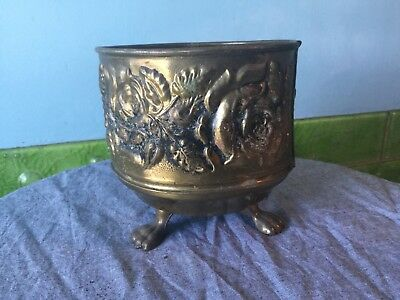 Beautiful Vintage Brass Planter. Plant Pot. Rose Relief. Lion Feet