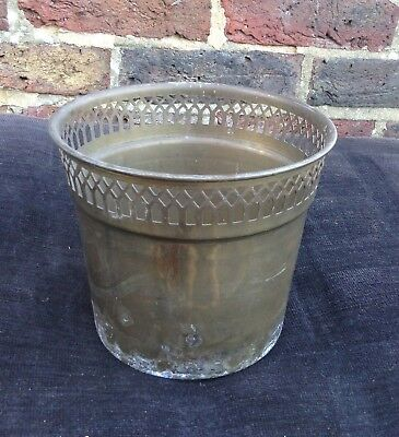 Vintage. Arts and Crafts Brass Planter Plant Pot Plant Bucket. Geometric design.