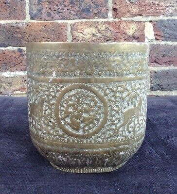 Vintage. Brass planter. Eastern. Indian plant pot animal design