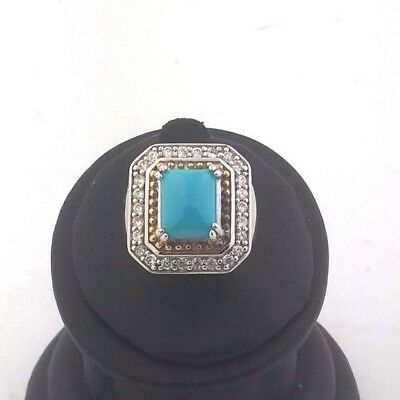Sterling Silver True Robin's Egg Blue Turquoise Ring w/Gold & CZ Accents Sz 6.25