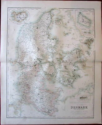 Denmark by Fullarton c. 1860 large folio sheet map Iceland Bornholm Faroe Virgin