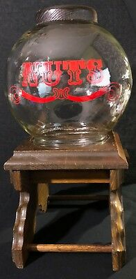 Vintage Peanut NUTS Dispenser Glass and Wood Gumball Style Machine FREE SHIPPING