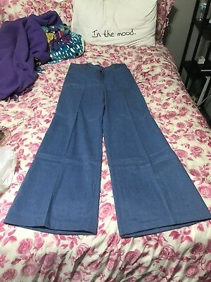 Original 1960's Bell Bottom Jeans Size Small With Brown Stripe Down Side.