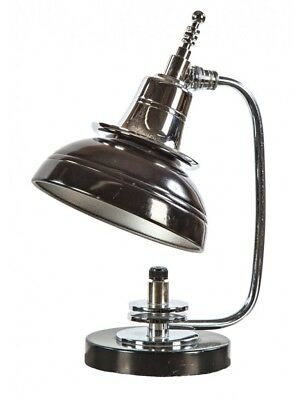 1930's Art Deco Polished Chrome And Black Enameled Table Lamp With Distinctive S
