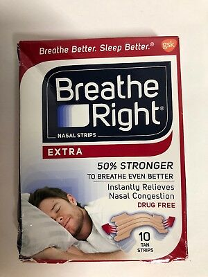 Breathe Right Nasal Strips Extra 50% Stronger 10tan Strips Ref009