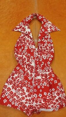 Womens S Vintage 60s 70s Red White Black Sleeveless BERGDORF NY Playsuit Romper