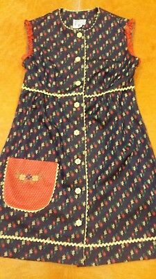 Womens Girls Vintage 60s70s A-Line Red White Blue Green Floral Baby Doll Dress S