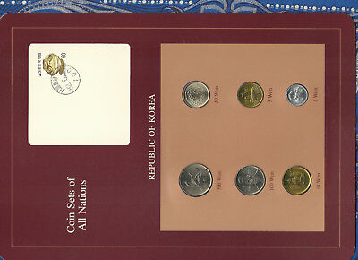 Coin Sets of All Nations Korea UNC 1,5,10,50 Won 1983 100, 500 Won 1984