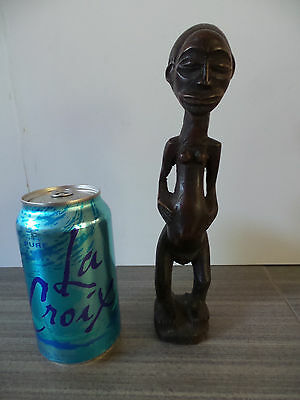 """9"""" Tall Hemba Democratic Republic Congo Statue African Handcarved Wooden Female"""