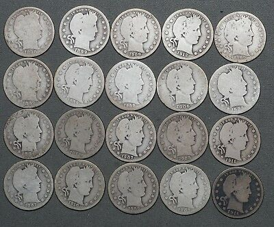 1898 - 1916 Barber Silver Quarters - Lot of (20) Coins