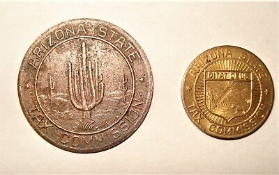 2 Vintage 1930's Arizona Tax Commission Change For Correct Payment Tokens..1 & 5
