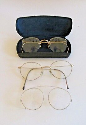526103884bec 2 Pairs Vintage Gold Filled Wire Rimmed Glasses   Black Hard Case 110  ...