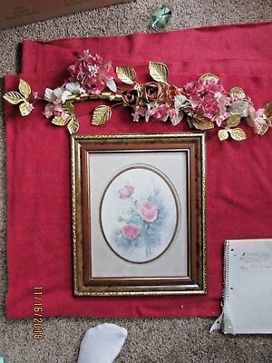 Framed Homco Home Interior Pictures EUC Artist Wyona Newton - Rose Bouquet