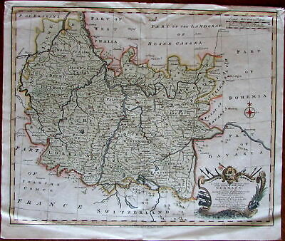 SW Germany Wurttemberg Lorrain Luxemburg 1751 Bowen large decorative antique map