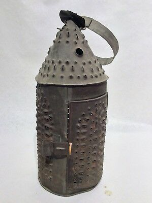 Early Antique Punched Pierced Tin Barn Candle Lantern Wonderful! Primitive.