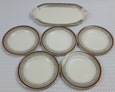 J & G Meakin Sol 1910/20s Side Tea Plates x 5 And Sandwich Cake Plate Vintage