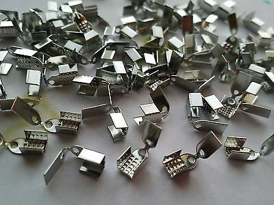 50 Silver Tone Necklace Small Folding Cord End Tips - Jewellery Findings