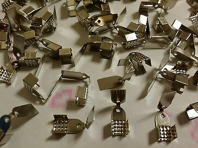 100 Platinum Colour Necklace Folding Cord Crimp End Cap - Findings