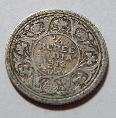 1912 British India Silver 1/4 Rupee Coin