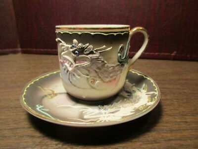 Vintage Porcelain PICO Dragonware Demitasse Tea Cup & Saucer Set - DRAGON