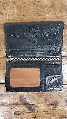 VINTAGE 1970s ENGLISH MADE BIFOLD BLACK LEATHER WALLET