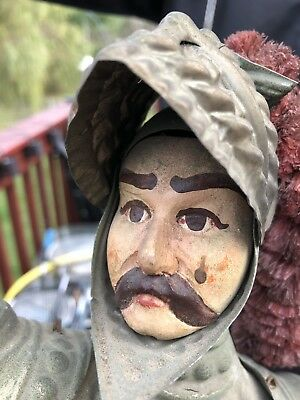 1890s Antique Italian Knight Soldier Marionette Toy Doll Hand Painted  Puppet